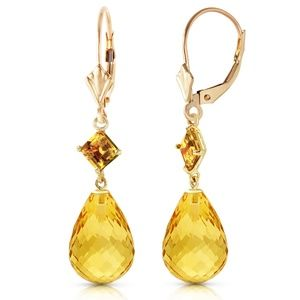 14K. SOLID GOLD LEVER BACK EARRING WITH CITRINES